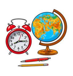 retro style alarm clock school globe pen pencil vector image