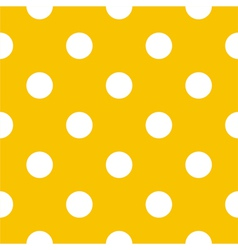 Seamless white polka dots on yellow background vector image
