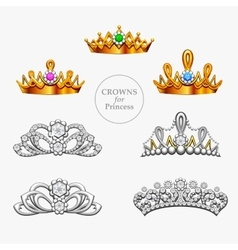 Seven crowns for a princess vector image