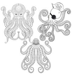 Tattoo Octopus set Hand drawn zentangle tribal vector image vector image