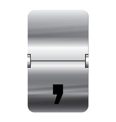 Alphabet silver flipboard letters comma vector image