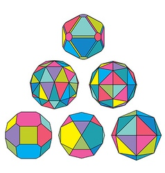 Collection of 6 complex dimensional spheres and vector image