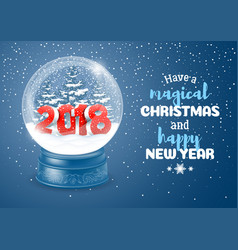 snow globe with 2018 digits vector image