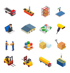3d isometric warehousetransportation vector image