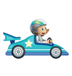 A girl in a car racing competition vector