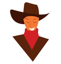 A happy cowboy dressed in traditional hat and red vector