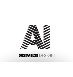 Ai a i lines letter design with creative elegant vector