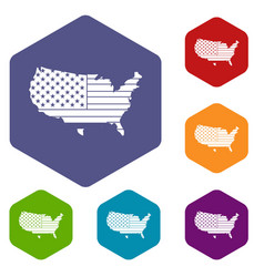 american map icons set hexagon vector image