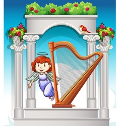 Angel flying around harp in heaven vector image
