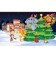 Animals near the christmas trees vector
