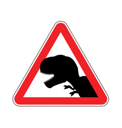 Attention dinosaur dangers red road sign vector