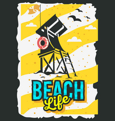 Beach summer poster design with beach lifeguard vector