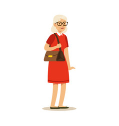 Beautiful senior woman in red dress colorful vector