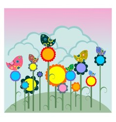 Birds on flowers vector image
