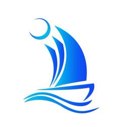 boat sail at sea logo vector image