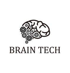Brain tech modern technology logo design gear vector
