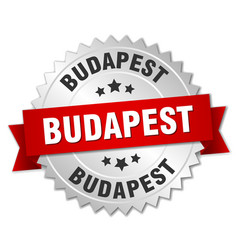 Budapest round silver badge with red ribbon vector