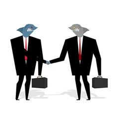 Business Sharks Handshake make deal Professionals vector