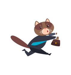 Businessman cat running with briefcase humanized vector
