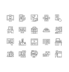 Buy online line icons signs set outline vector