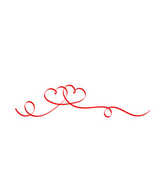 calligraphy ribbon hearts isolated on white vector image