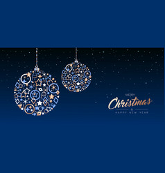 christmas and new year copper ball web banner vector image