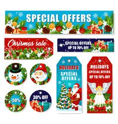 Christmas decorations sale shop tags vector