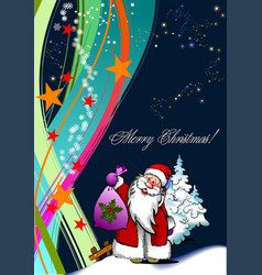 Christmas - new year background with santa image vector