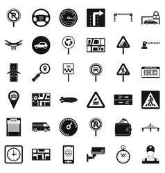 City traffic icons set simple style vector