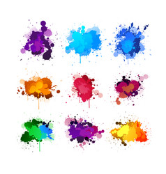 Colorful ink splashing element set vector