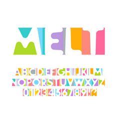 colorful letters and numbers set colored vector image