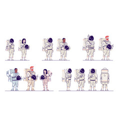 cosmonauts in space suits flat set multiracial vector image