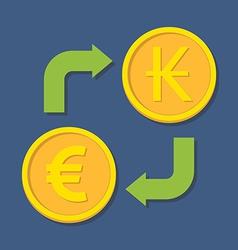 Currency exchange Euro and Kip vector