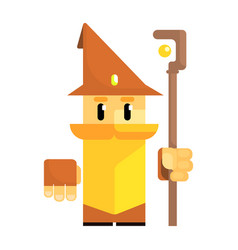Cute cartoon gnome in a brown hat with a staff in vector