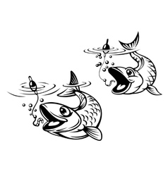 Cute fish about to be caught on a fishing line vector image