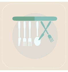 CUTLERY KITCHEN FLAT ICON vector