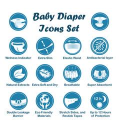 Diaper characteristics icons set vector