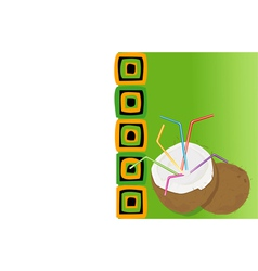 Drink card with coconut vector