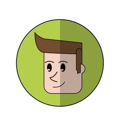 Face man smiling green background shadow design vector