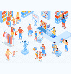 Family shopping isometric vector