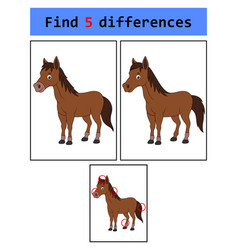 find 5 differences horse vector image