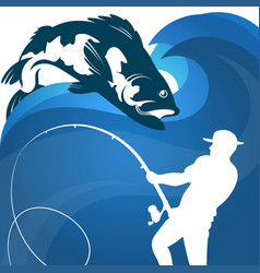 Fisherman with fishing rod vector