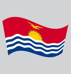 Flag of kiribati waving on gray background vector