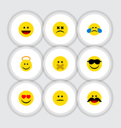 Flat icon gesture set of cross-eyed face love vector