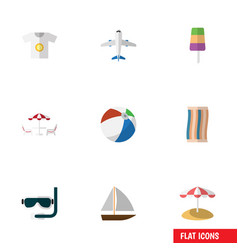 Flat icon summer set of yacht parasol clothes vector