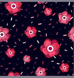Flowers pattern with confetti vector