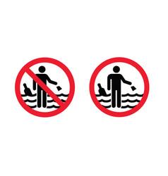 Forbidden to throw garbage bottle water sea vector