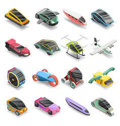 Future transport isometric icons set vector