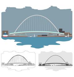 Gateshead millenium bridge colored skyline and vector