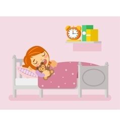 Girl sleeping in the bed flat vector